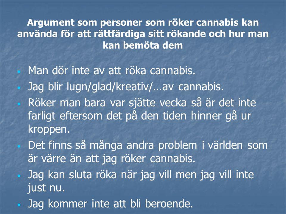 Argument som personer som röker cannabis kan använda för att rättfärdiga sitt rökande och hur man kan bemöta dem   Cannabis är en medicin.   Det f