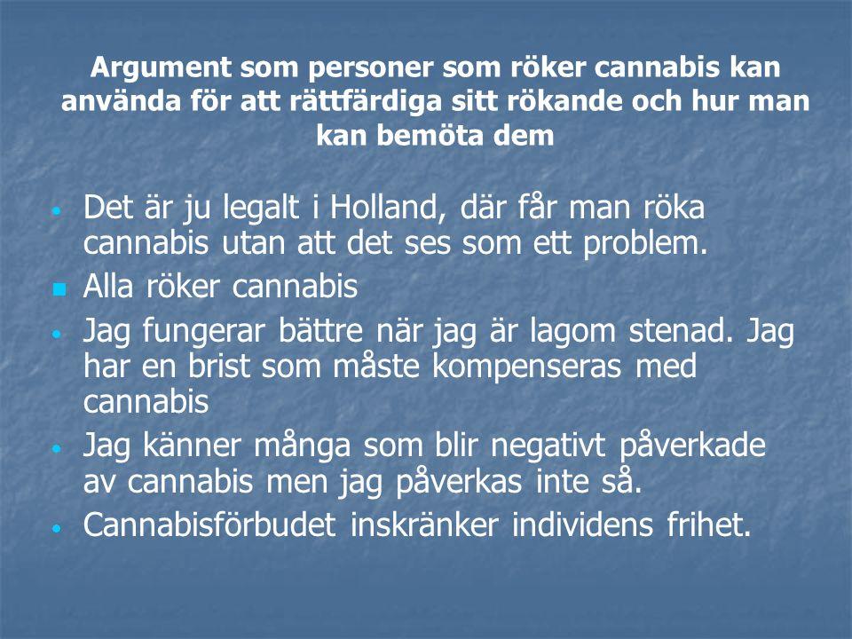 Argument som personer som röker cannabis kan använda för att rättfärdiga sitt rökande och hur man kan bemöta dem   Det är ju legalt i Holland, där får man röka cannabis utan att det ses som ett problem.