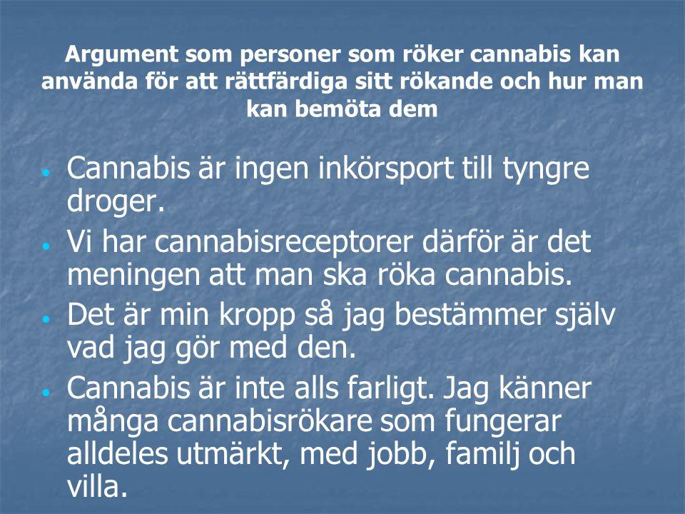 Argument som personer som röker cannabis kan använda för att rättfärdiga sitt rökande och hur man kan bemöta dem   Cannabis är ingen inkörsport till tyngre droger.