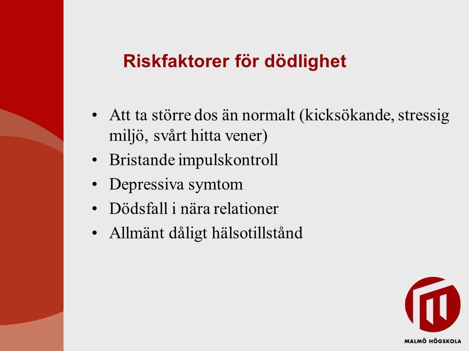 Riskfaktorer för dödlighet Att ta större dos än normalt (kicksökande, stressig miljö, svårt hitta vener) Bristande impulskontroll Depressiva symtom Dö