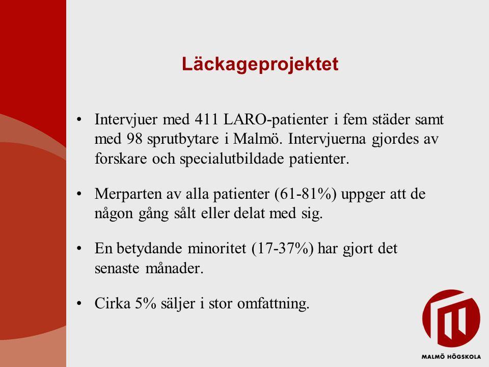 Läckageprojektet Intervjuer med 411 LARO-patienter i fem städer samt med 98 sprutbytare i Malmö. Intervjuerna gjordes av forskare och specialutbildade