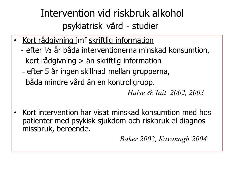 Intervention vid riskbruk alkohol psykiatrisk vård - studier Kort rådgivning jmf skriftlig information - efter ½ år båda interventionerna minskad konsumtion, kort rådgivning > än skriftlig information, - efter 5 år ingen skillnad mellan grupperna, båda mindre vård än en kontrollgrupp.