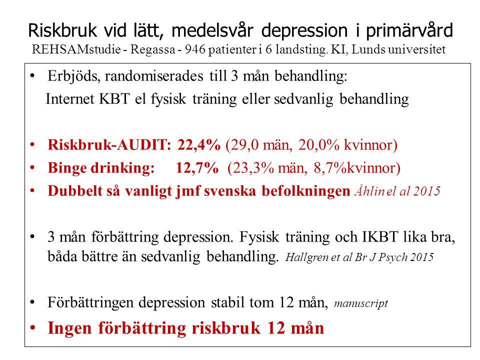 Riskbruk vid lätt, medelsvår depression i primärvård REHSAMstudie - Regassa - 946 patienter i 6 landsting.