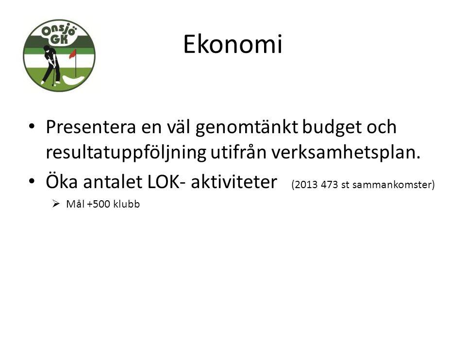 Ekonomi Presentera en väl genomtänkt budget och resultatuppföljning utifrån verksamhetsplan. Öka antalet LOK- aktiviteter (2013 473 st sammankomster)