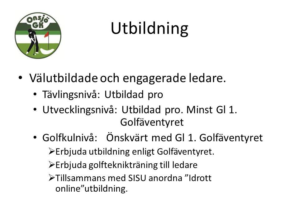 Utbildning Välutbildade och engagerade ledare. Tävlingsnivå: Utbildad pro Utvecklingsnivå: Utbildad pro. Minst Gl 1. Golfäventyret Golfkulnivå: Önskvä