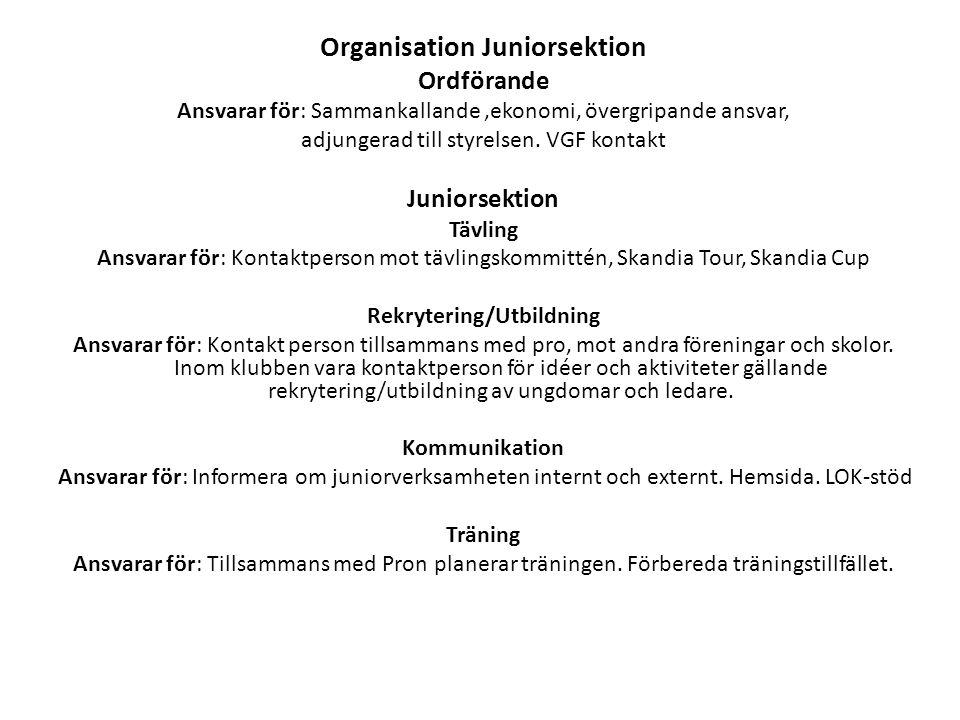 Organisation Juniorsektion Ordförande Ansvarar för: Sammankallande,ekonomi, övergripande ansvar, adjungerad till styrelsen. VGF kontakt Juniorsektion