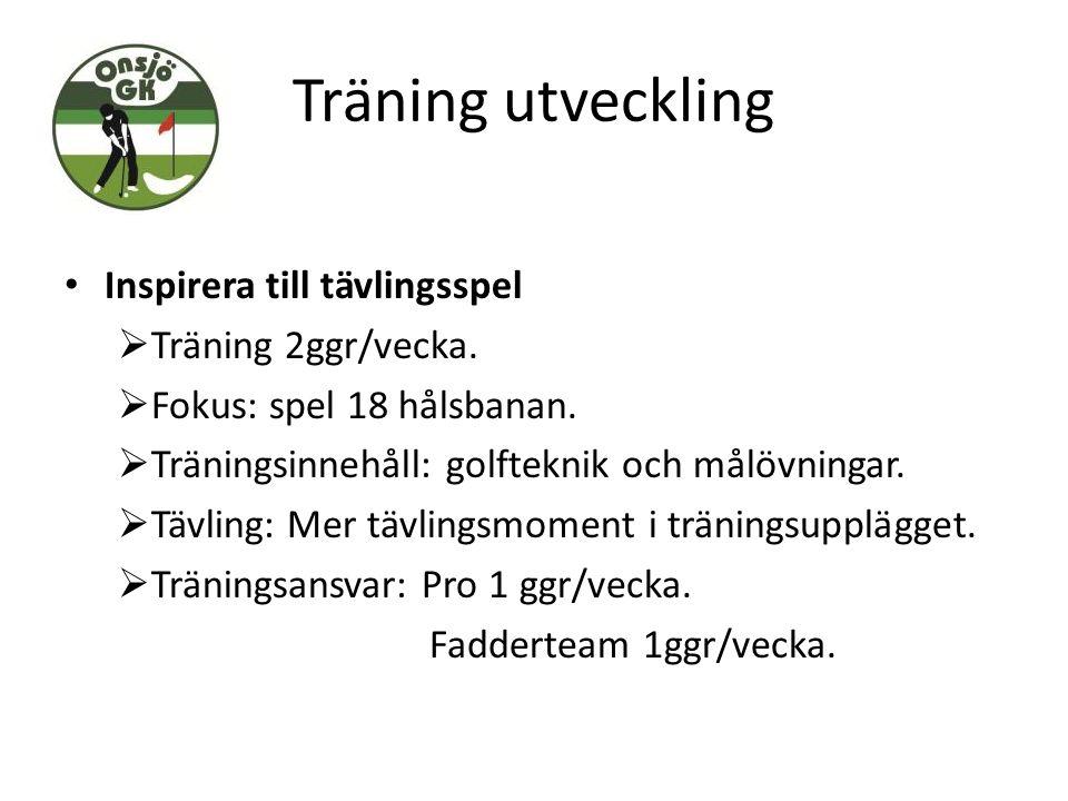 Träning utveckling Inspirera till tävlingsspel  Träning 2ggr/vecka.  Fokus: spel 18 hålsbanan.  Träningsinnehåll: golfteknik och målövningar.  Täv