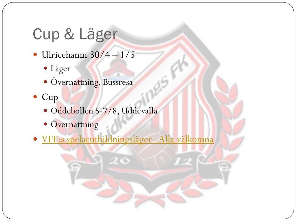 Cup & Läger Ulricehamn 30/4 – 1/5 Läger Övernattning, Bussresa Cup Oddebollen 5-7/8, Uddevalla Övernattning VFF:s spelarutbildningsläger - Alla välkom
