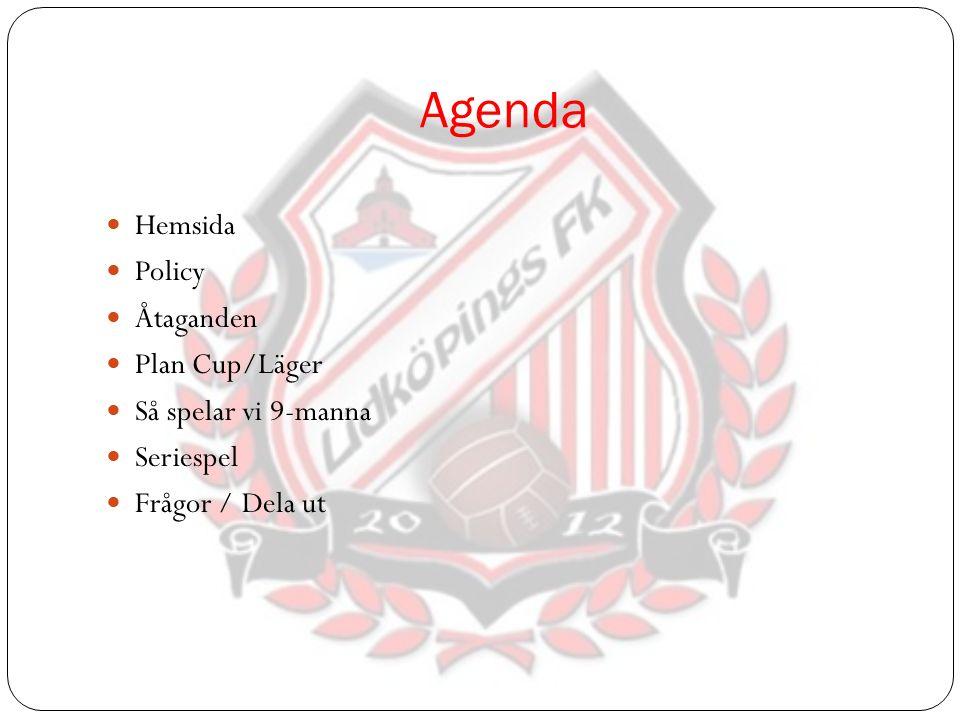 Agenda Hemsida Policy Åtaganden Plan Cup/Läger Så spelar vi 9-manna Seriespel Frågor / Dela ut