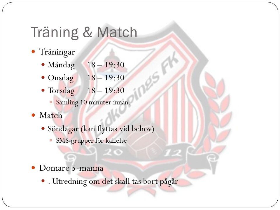 Träning & Match Träningar Måndag18 – 19:30 Onsdag18 – 19:30 Torsdag18 – 19:30 Samling 10 minuter innan. Match Söndagar (kan flyttas vid behov) SMS-gru