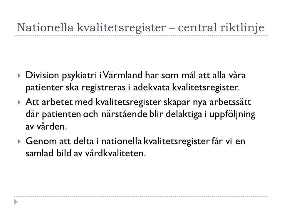 Nationella kvalitetsregister – central riktlinje  Division psykiatri i Värmland har som mål att alla våra patienter ska registreras i adekvata kvalitetsregister.