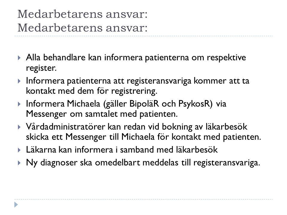 Medarbetarens ansvar:  Alla behandlare kan informera patienterna om respektive register.