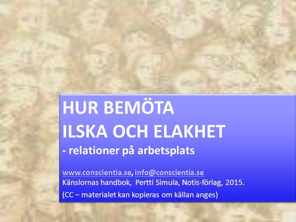 HUR BEMÖTA ILSKA OCH ELAKHET - relationer på arbetsplats www.conscientia.sewww.conscientia.se, info@conscientia.seinfo@conscientia.se Känslornas handbok, Pertti Simula, Notis-förlag, 2015.
