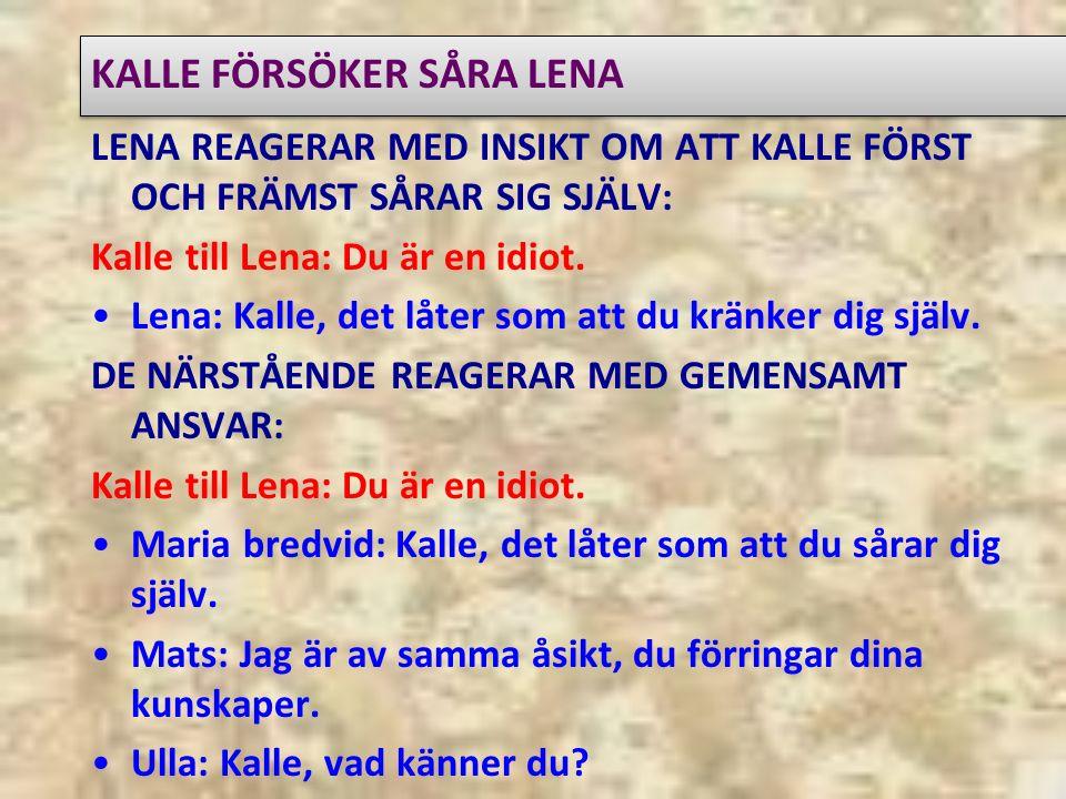 KALLE FÖRSÖKER SÅRA LENA LENA REAGERAR MED INSIKT OM ATT KALLE FÖRST OCH FRÄMST SÅRAR SIG SJÄLV: Kalle till Lena: Du är en idiot.