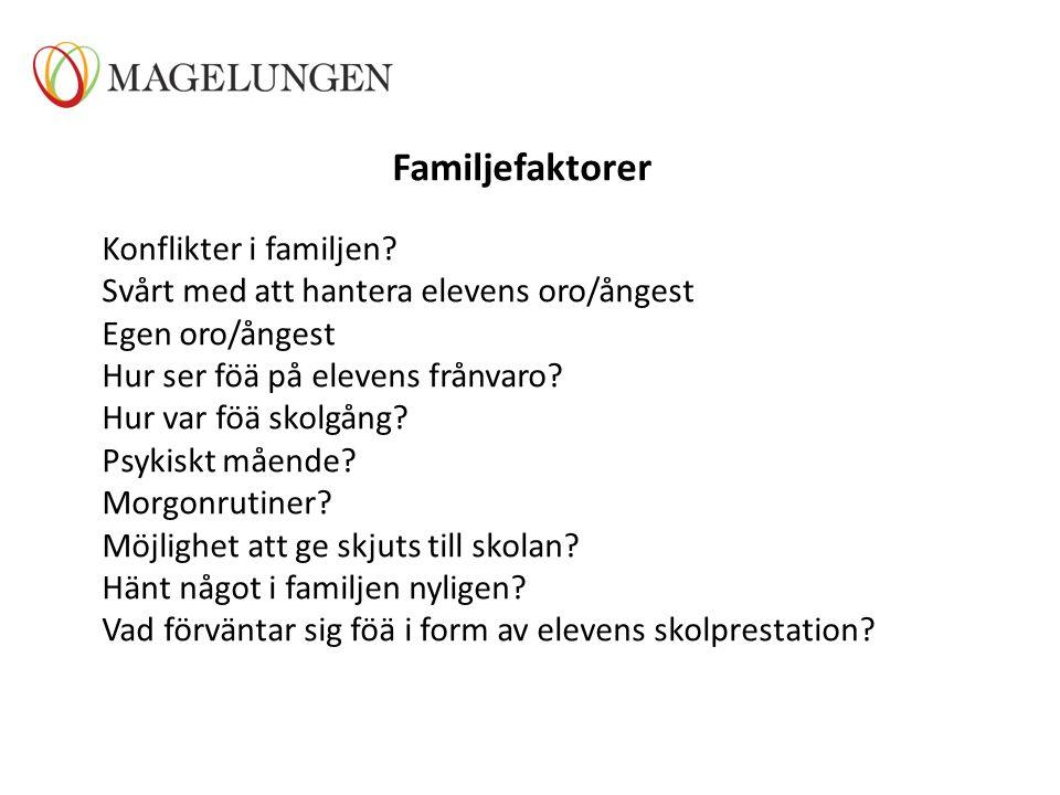 Familjefaktorer Konflikter i familjen? Svårt med att hantera elevens oro/ångest Egen oro/ångest Hur ser föä på elevens frånvaro? Hur var föä skolgång?