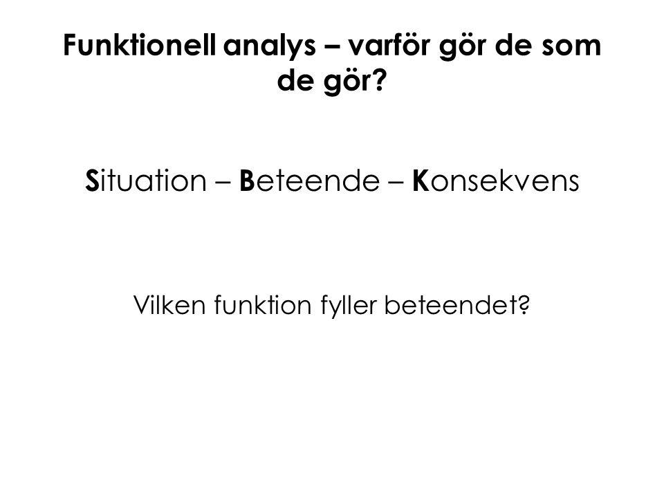 Funktionell analys – varför gör de som de gör? S ituation – B eteende – K onsekvens Vilken funktion fyller beteendet?