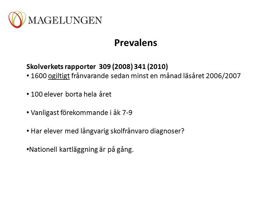 Prevalens Skolverkets rapporter 309 (2008) 341 (2010) 1600 ogiltigt frånvarande sedan minst en månad läsåret 2006/2007 100 elever borta hela året Vanligast förekommande i åk 7-9 Har elever med långvarig skolfrånvaro diagnoser.