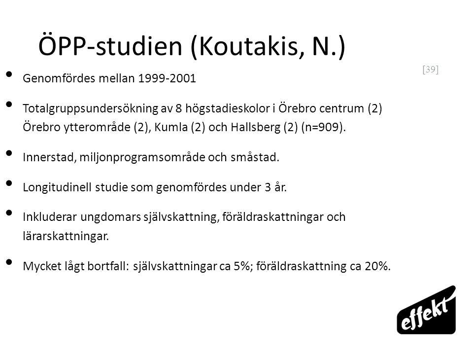 [39] ÖPP-studien (Koutakis, N.) Genomfördes mellan 1999-2001 Totalgruppsundersökning av 8 högstadieskolor i Örebro centrum (2) Örebro ytterområde (2),