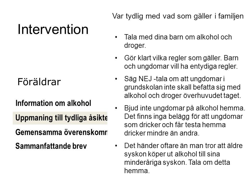 [61] Intervention Information om alkohol Gemensamma överenskommelser Uppmaning till tydliga åsikter Föräldrar Var tydlig med vad som gäller i familjen