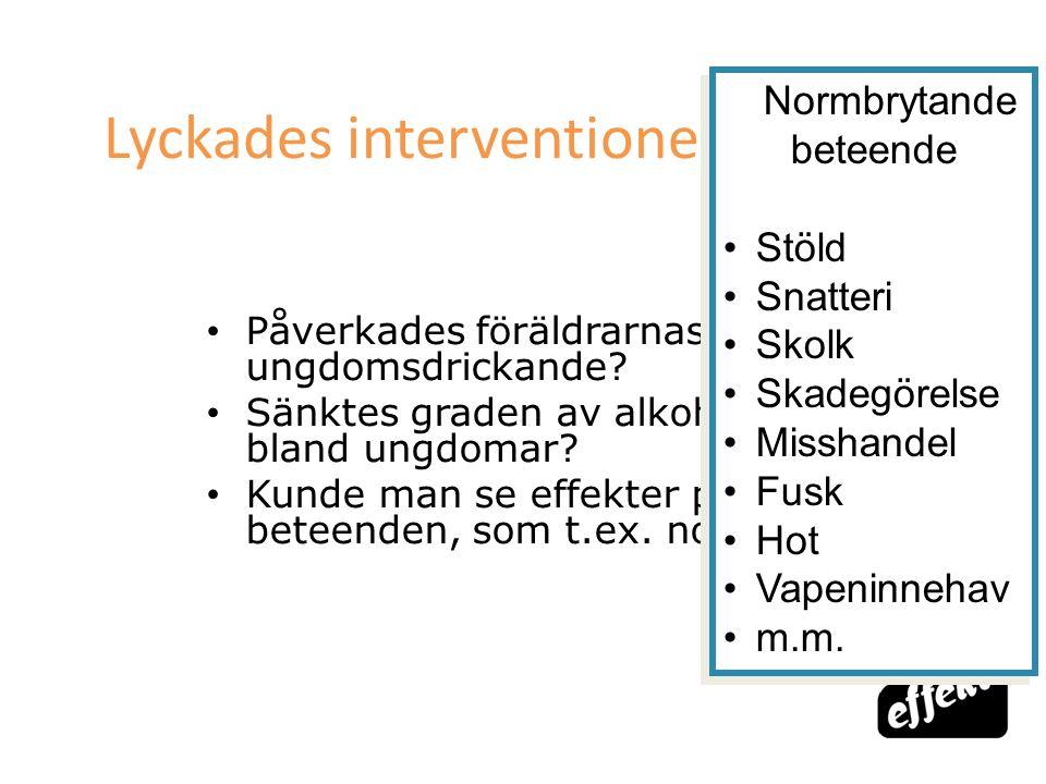 [65] Lyckades interventionen? Påverkades föräldrarnas attityder till ungdomsdrickande? Sänktes graden av alkoholdrickande bland ungdomar? Kunde man se