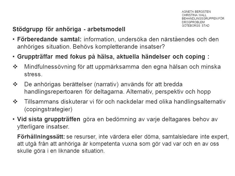 Stödgrupp för anhöriga - arbetsmodell Förberedande samtal: information, undersöka den närståendes och den anhöriges situation.
