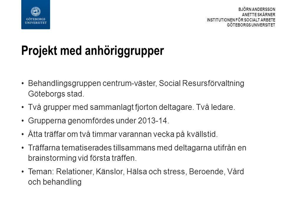 Projekt med anhöriggrupper Behandlingsgruppen centrum-väster, Social Resursförvaltning Göteborgs stad.