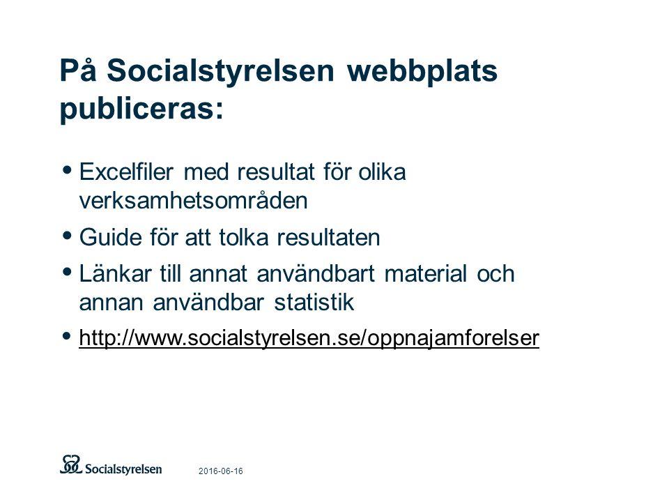 På Socialstyrelsen webbplats publiceras: 2016-06-16 Excelfiler med resultat för olika verksamhetsområden Guide för att tolka resultaten Länkar till annat användbart material och annan användbar statistik http://www.socialstyrelsen.se/oppnajamforelser