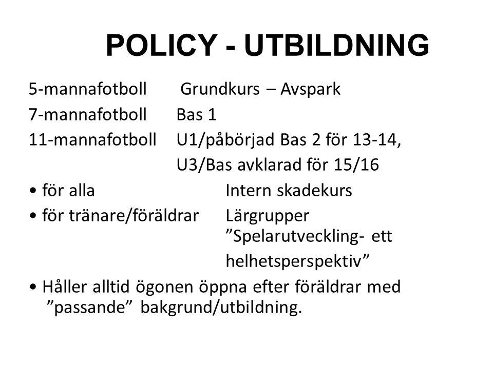POLICY - UTBILDNING 5-mannafotboll Grundkurs – Avspark 7-mannafotbollBas 1 11-mannafotbollU1/påbörjad Bas 2 för 13-14, U3/Bas avklarad för 15/16 för a