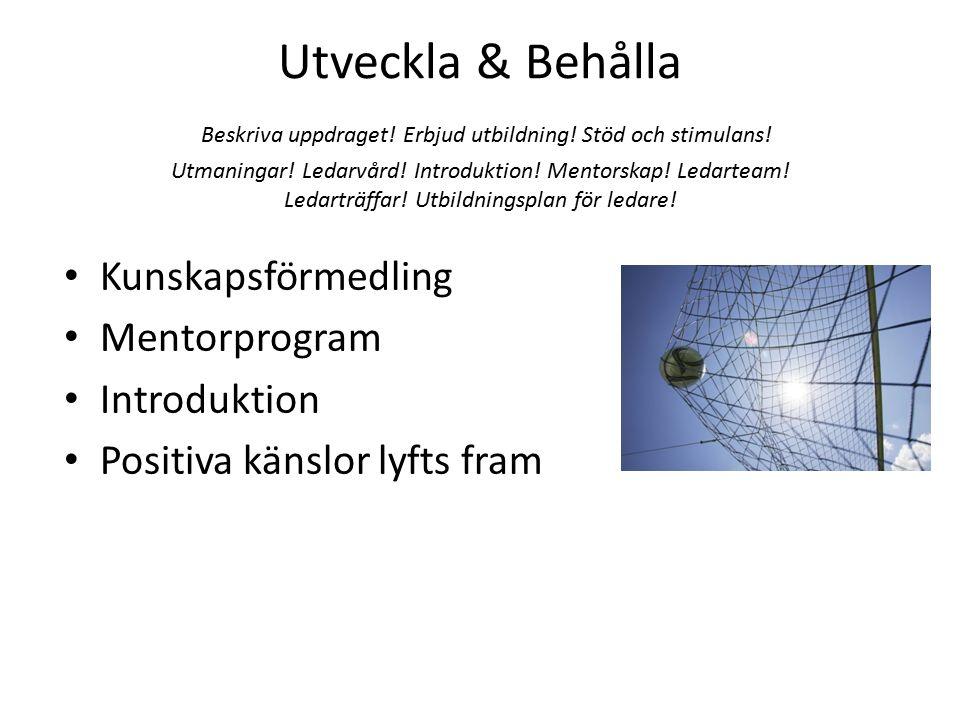 Utveckla & Behålla Beskriva uppdraget! Erbjud utbildning! Stöd och stimulans! Utmaningar! Ledarvård! Introduktion! Mentorskap! Ledarteam! Ledarträffar