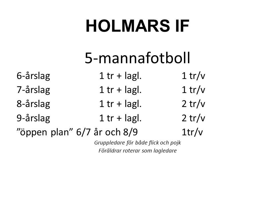 HOLMARS IF 7-mannafotboll 10-årslag1 tr + lagl.2 tr/v 11-årslag1 tr + lagl.2 tr/v 12-årslag1 tr + lagl.2 tr/v öppen plan 10-12 år1tr/v Gruppledare för både flick och pojk Föräldrar roterar som lagledare