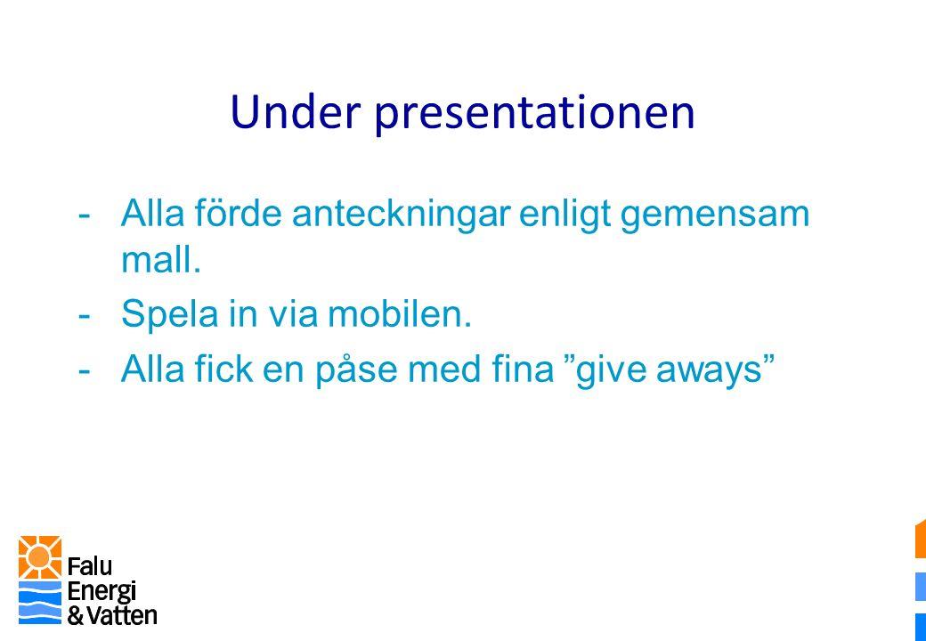 Under presentationen -Alla förde anteckningar enligt gemensam mall.