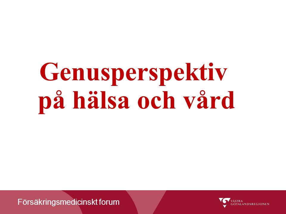 Försäkringsmedicinskt forum Genusperspektiv på hälsa och vård