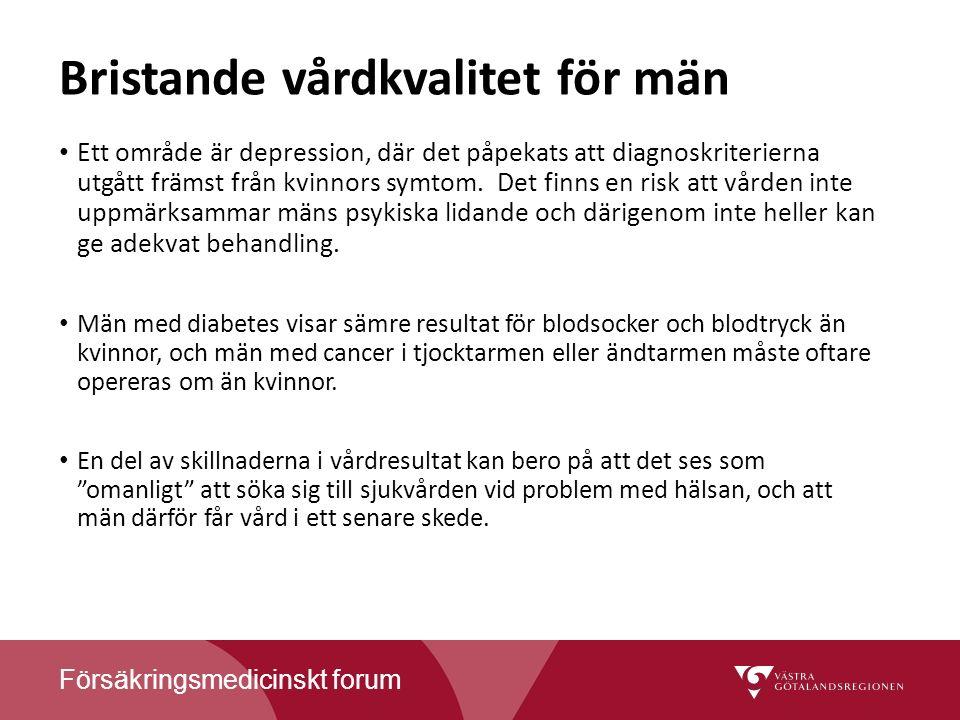Försäkringsmedicinskt forum Bristande vårdkvalitet för män Ett område är depression, där det påpekats att diagnoskriterierna utgått främst från kvinnors symtom.