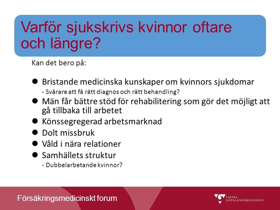 Försäkringsmedicinskt forum Varför sjukskrivs kvinnor oftare och längre.