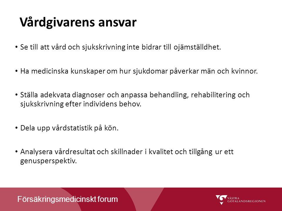 Försäkringsmedicinskt forum Vårdgivarens ansvar Se till att vård och sjukskrivning inte bidrar till ojämställdhet.