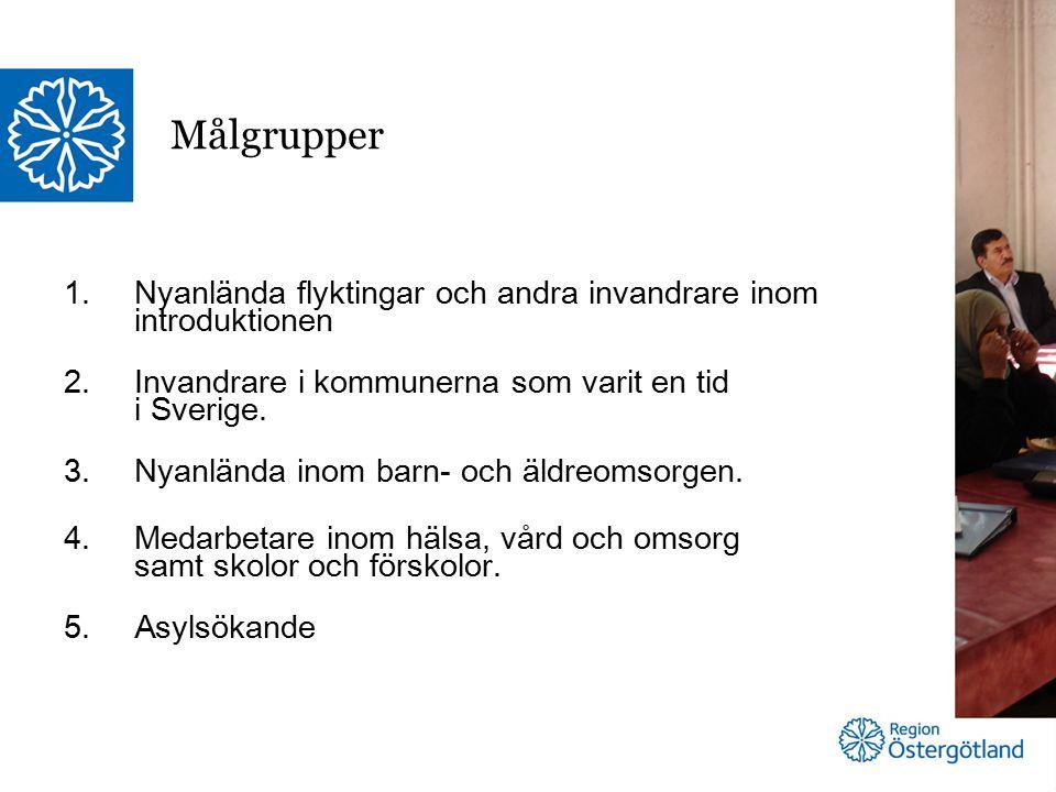 1.Nyanlända flyktingar och andra invandrare inom introduktionen 2.Invandrare i kommunerna som varit en tid i Sverige.