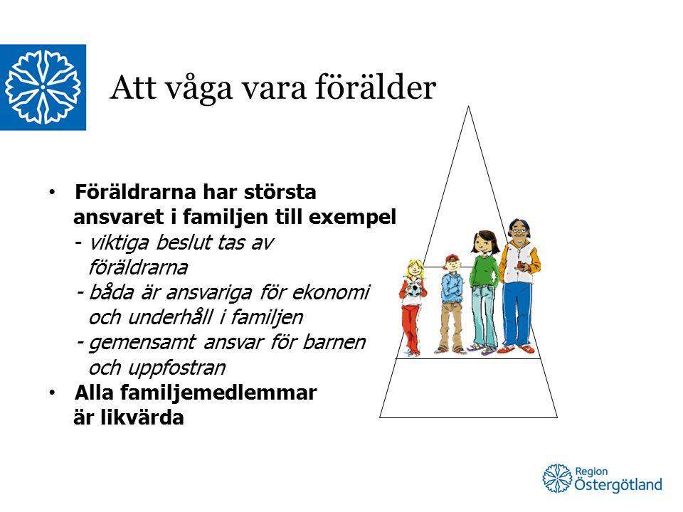 Föräldrarna har största ansvaret i familjen till exempel - viktiga beslut tas av föräldrarna - båda är ansvariga för ekonomi och underhåll i familjen - gemensamt ansvar för barnen och uppfostran Alla familjemedlemmar är likvärda Att våga vara förälder
