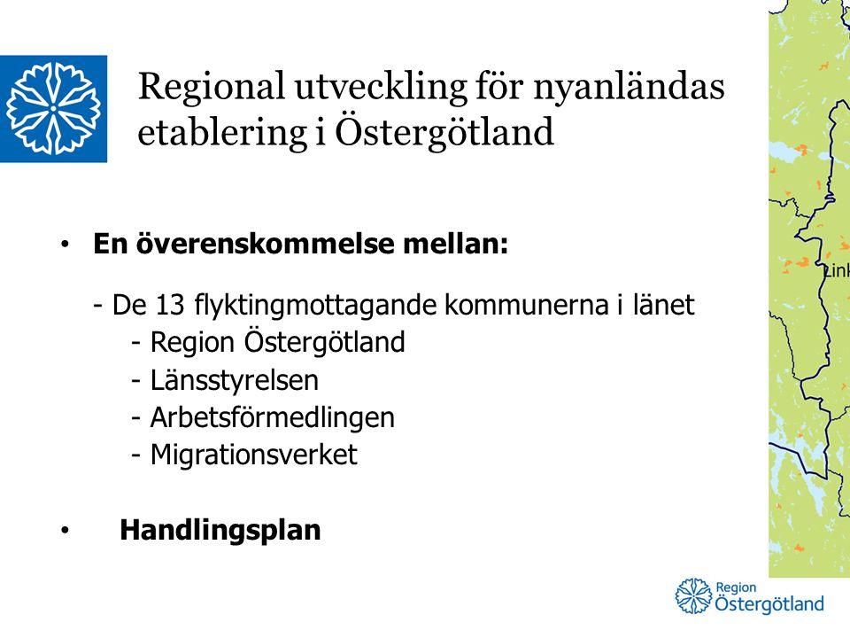 En överenskommelse mellan: - De 13 flyktingmottagande kommunerna i länet - Region Östergötland - Länsstyrelsen - Arbetsförmedlingen - Migrationsverket Handlingsplan Regional utveckling för nyanländas etablering i Östergötland