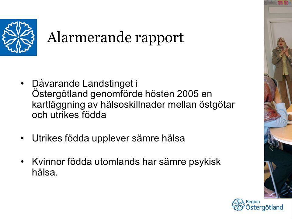 Dåvarande Landstinget i Östergötland genomförde hösten 2005 en kartläggning av hälsoskillnader mellan östgötar och utrikes födda Utrikes födda upplever sämre hälsa Kvinnor födda utomlands har sämre psykisk hälsa.