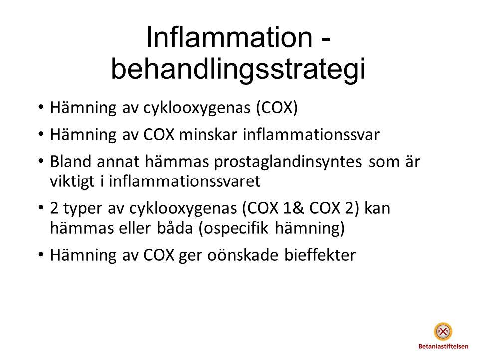 Inflammation - behandlingsstrategi Hämning av cyklooxygenas (COX) Hämning av COX minskar inflammationssvar Bland annat hämmas prostaglandinsyntes som är viktigt i inflammationssvaret 2 typer av cyklooxygenas (COX 1& COX 2) kan hämmas eller båda (ospecifik hämning) Hämning av COX ger oönskade bieffekter