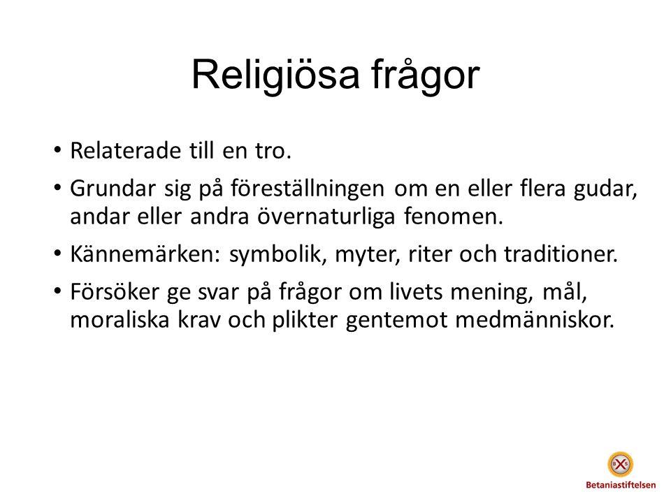 Religiösa frågor Relaterade till en tro.