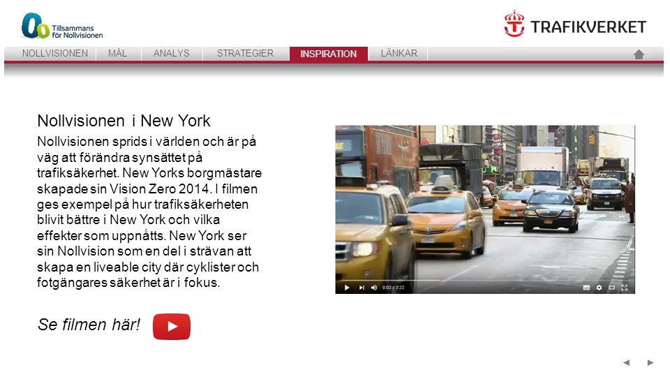 41 ANALYSSTRATEGIERINSPIRATIONLÄNKARNOLLVISIONENMÅL INSPIRATION ►◄ Nollvisionen i New York Nollvisionen sprids i världen och är på väg att förändra synsättet på trafiksäkerhet.