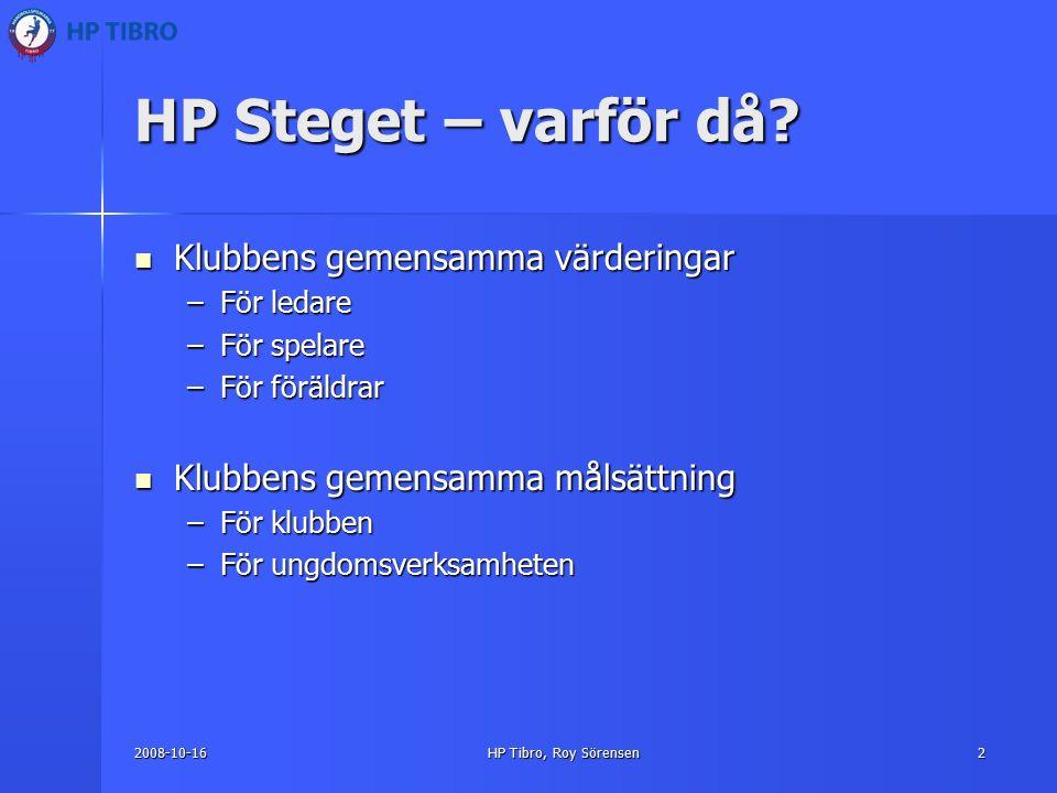2008-10-16HP Tibro, Roy Sörensen2 HP Steget – varför då.