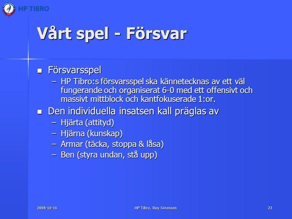 2008-10-16HP Tibro, Roy Sörensen23 Vårt spel - Försvar Försvarsspel Försvarsspel –HP Tibro:s försvarsspel ska kännetecknas av ett väl fungerande och organiserat 6-0 med ett offensivt och massivt mittblock och kantfokuserade 1:or.