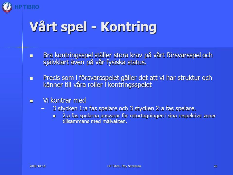 2008-10-16HP Tibro, Roy Sörensen26 Vårt spel - Kontring Bra kontringsspel ställer stora krav på vårt försvarsspel och självklart även på vår fysiska status.