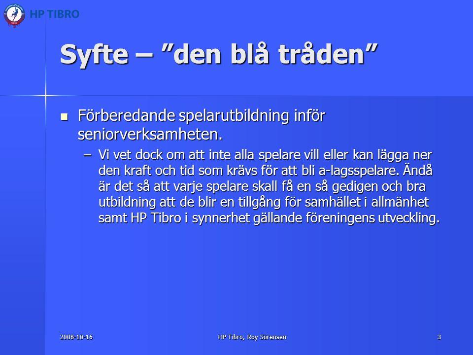 2008-10-16HP Tibro, Roy Sörensen3 Syfte – den blå tråden Förberedande spelarutbildning inför seniorverksamheten.