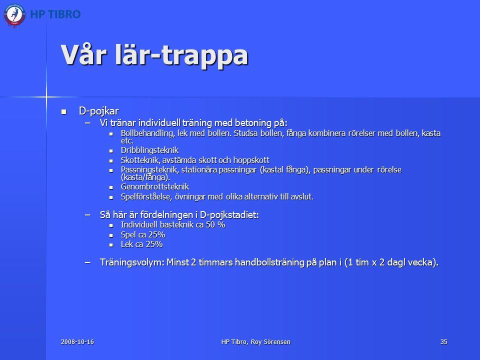 2008-10-16HP Tibro, Roy Sörensen35 Vår lär-trappa D-pojkar D-pojkar –Vi tränar individuell träning med betoning på: Bollbehandling, lek med bollen.