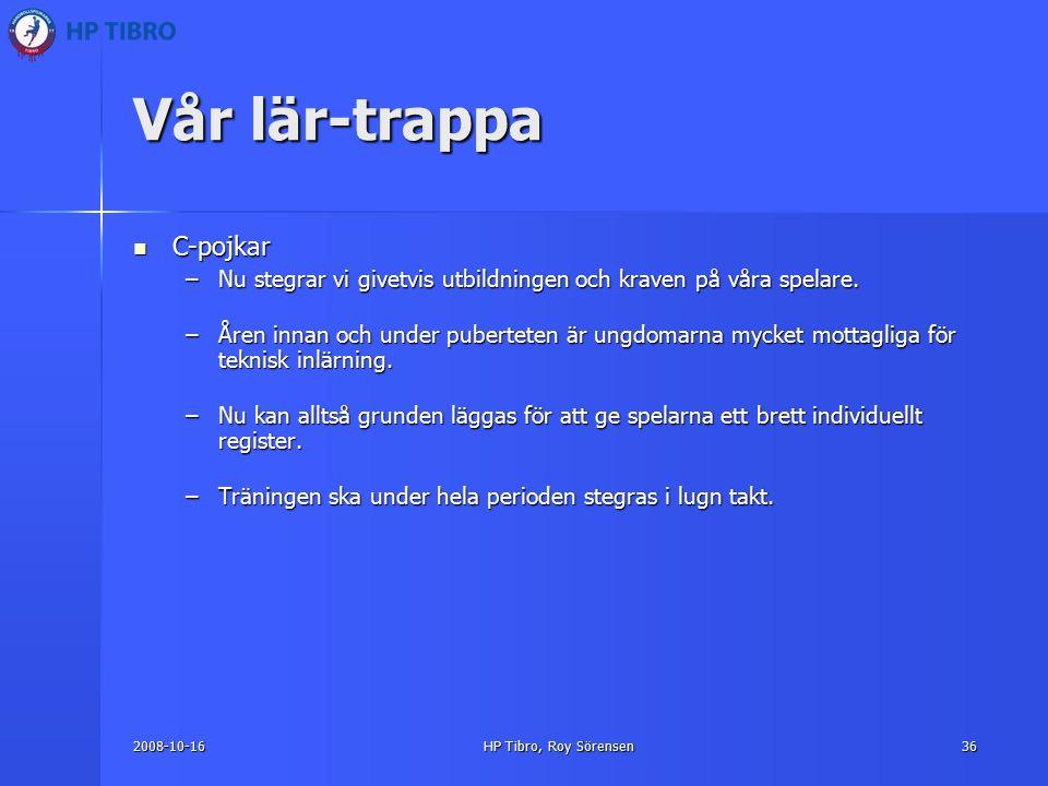 2008-10-16HP Tibro, Roy Sörensen36 Vår lär-trappa C-pojkar C-pojkar –Nu stegrar vi givetvis utbildningen och kraven på våra spelare.