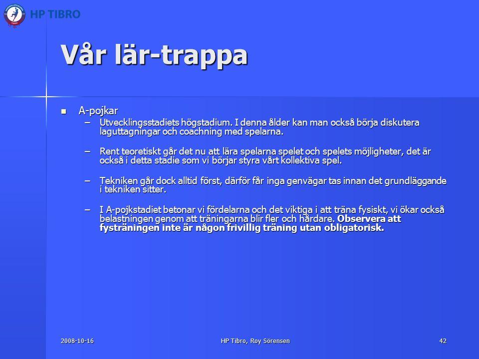 2008-10-16HP Tibro, Roy Sörensen42 Vår lär-trappa A-pojkar A-pojkar –Utvecklingsstadiets högstadium.