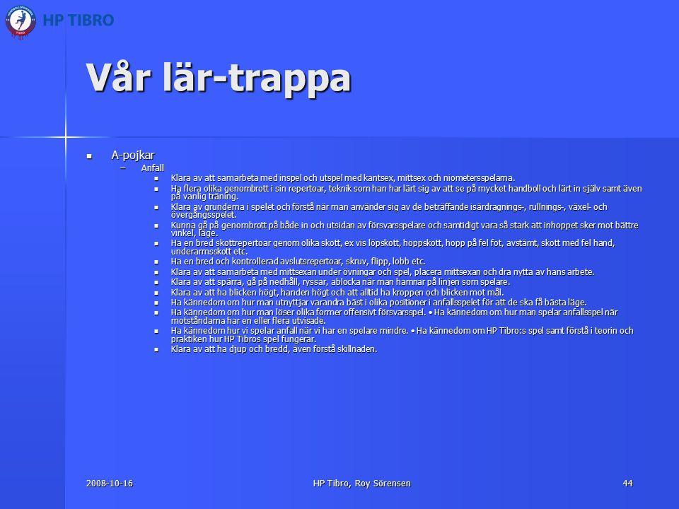 2008-10-16HP Tibro, Roy Sörensen44 Vår lär-trappa A-pojkar A-pojkar –Anfall Klara av att samarbeta med inspel och utspel med kantsex, mittsex och niometersspelarna.